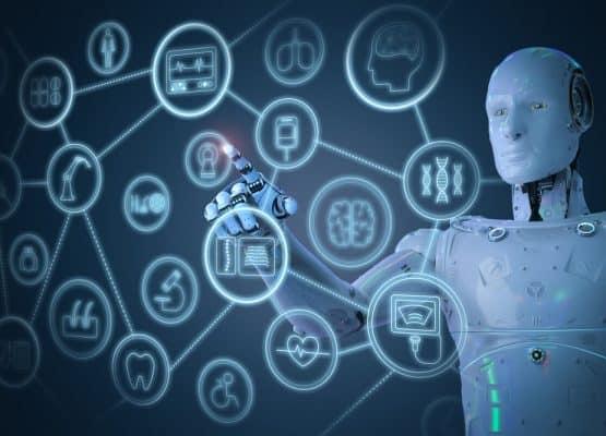 Concepto de tecnología médica con robot ai de renderizado 3d que trabaja con interfaz médica hud