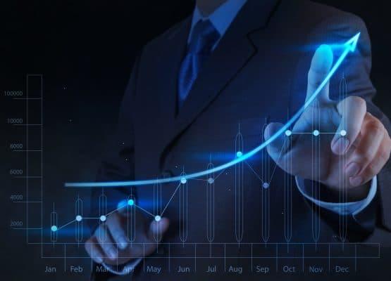 empresario mano toque 3d negocio gráfico virtual