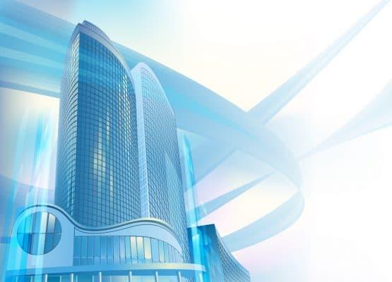 Un rascacielos moderno está en el paisaje urbano abstracto