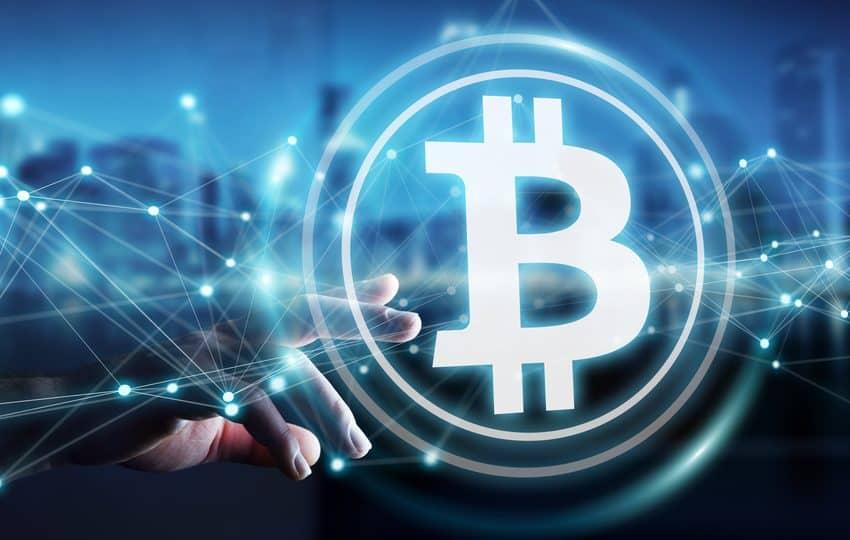 empresario utilizando bitcoins cryptocurrency 3D rendering