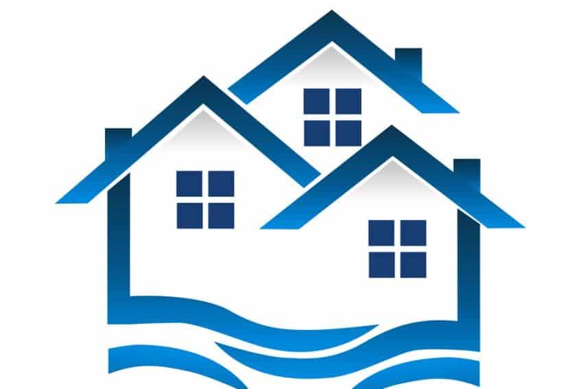 Grupo de casas azules, vector icono ondulado