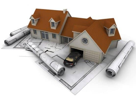 Representación 3D de una casa con garaje encima de planos