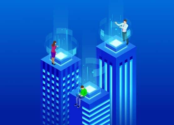 Edificios inteligentes isométricos. Concepto de ciudad inteligente. Centro de negocios con rascacielos conectado a la red informática. Ilustración vectorial