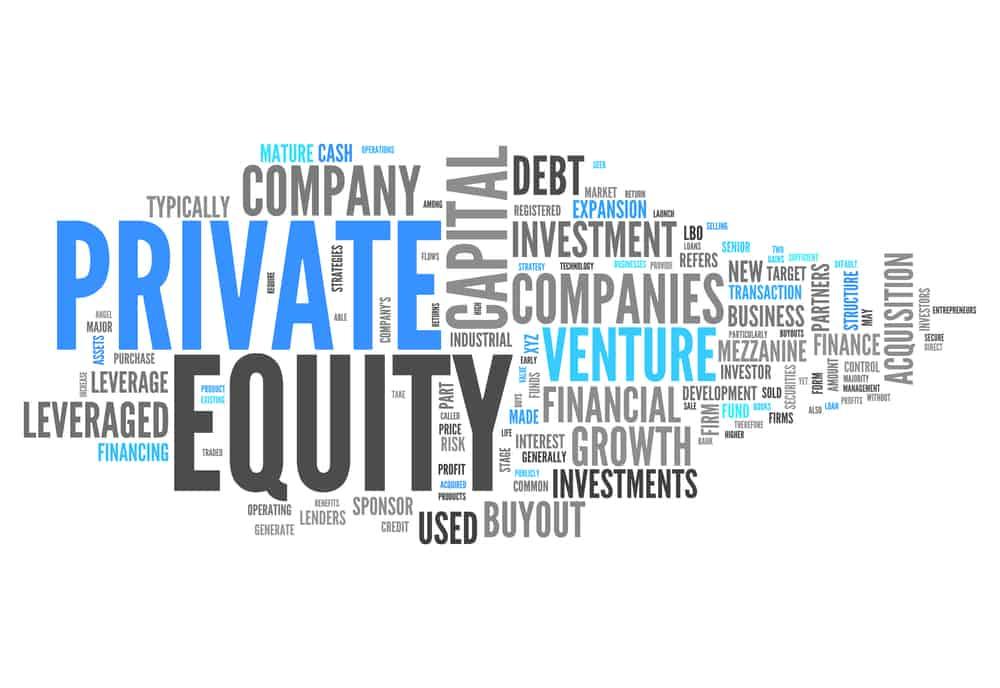 Nube de palabras con etiquetas relacionadas con el capital privado